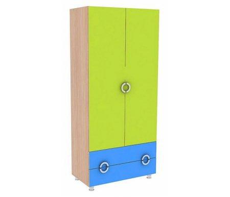 Шкаф двустворчатый МауглиШкафы одежные<br>Шкаф двустворчатый Маугливыполнен из ЛДСП (толщина 16 мм и 25 мм), покрытой ПВХ кромкой (0,4 мм и 1,0 мм). Ножки регулируются по высоте. Ящики оборудованы роликовыми направляющими. <br> <br>  <br> <br> <br> <br>   <br>    Поставляется в разобранном виде - 4 упаковки.<br><br>Ширина: 90 см<br>Глубина: 47 см<br>Высота: 200 см<br>Материал: ЛДСП, ПВХ кромка<br>Цвет: дуб млечный / голубой / салатовый, дуб млечный / оранжевый / салатовый<br>Объем упаковки: 0,167 куб. м<br>Вес: 93 кг