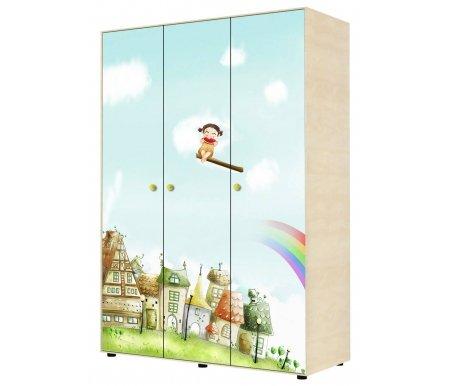 Шкаф трехдверный для одежды Браво 01 ясень асахи / фисташковыйШкафы одежные<br>Материал фасада шкафа: ЛДСП с цветной глянцевой наклейкой.<br>