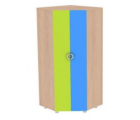 Шкаф угловой МауглиШкафы одежные<br>Шкаф угловой Маугливыполнен из ЛДСП (толщина 16 мм и 25 мм), покрытой ПВХ кромкой (0,4 мм и 1,0 мм). Ножки регулируются по высоте. Под верхней полкой расположена хромированная штанга для одежды. <br> <br>  <br> <br> <br> <br>   <br>    Поставляется в разобранном виде - 4 упаковки.<br><br>Ширина: 90,4 см<br>Глубина: 90,4 см<br>Высота: 200 см<br>Материал: ЛДСП, ПВХ кромка<br>Цвет: дуб млечный / голубой / салатовый, дуб млечный / оранжевый / салатовый<br>Объем упаковки: 0,208 куб. м<br>Вес: 105 кг