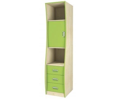 Шкаф комбинированный Комби МН-211-20Стеллажи<br>Высокий функциональный комбинированный шкаф. Сделан из МДФ. Его яркая расцветка и необычный дизайн не оставят вас равнодушными. Замечательно впишется в интерьер детской. Этот вместительный шкаф состоит из трех ящиков, двух открытых полок и отделения с дверью.<br> <br> <br>  <br> <br> <br> <br>   <br>     <br>      Материал фасада: 18 Egger (Румыния).<br>     <br>      Материал корпуса: ДСП-16/25 Kronospan Szczecinek (Польша).<br>     <br>                      Кромка ПВХ 2.0 мм.<br>     <br>       <br>        Фурнитура и роликовые направляющие: GTV (Польша).<br>       <br>        Ручки - Schwinn (Германия).<br><br>Ширина: 43 см<br>Глубина: 50 см<br>Высота: 183 см<br>Материал: ДСП, ПВХ<br>Цвет: береза / лайм