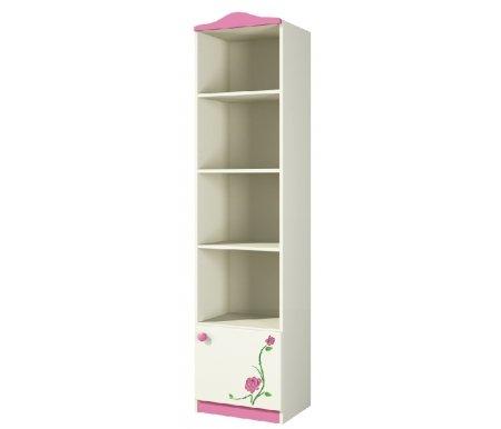 Шкаф Розалия Ш45-1Л(П)Д1Стеллажи<br>Высокий вытянутый шкаф из МДФ. Состоит он из четырех открытых полок и отделения с дверцей внизу. На фасаде двери выполнена 3D-гравировка в виде цветов. Этот полезный элемент гарнитура позволит разместить много вещей, при этом шкаф не займет много места. <br>Расположение фурнитуры может быть как правое, так и левое.<br> <br> <br>  <br> <br>   <br>     <br>      Материал фасада: МДФ-16 Kronospan Szczecinek (Польша), ПВХ Imawell (Германия), краска Sayerlack (Италия).<br>     <br>      Материал корпуса: ДСП-16/25 Kronospan Szczecinek (Польша).<br>     <br>         Кромка ПВХ 2.0 мм. <br>    Материал фурнитуры: Hettich (Германия), Gamet, Patrex (Польша).<br><br>Ширина: 45 см<br>Глубина: 37 см<br>Высота: 182 см<br>Материал: МДФ, ДСП, ПВХ<br>Цвет: крем (розалия)