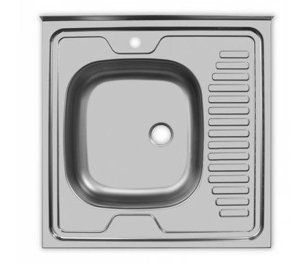 Мойка накладная STD600.600--5C 0L матовый металлМойки<br>Кухонная накладная мойка из нержавеющей стали с большой чашей расположенной слева, с площадкой под смеситель и кротким крылом. <br>Подходит для тумб 60 см. Чаша снаружи покрыта шумопоглащающей пленкой. Выпускается без перелива для воды.<br> <br>Размер чаши (Ш х Г): 35 см х 40 см.<br> <br> <br>  Глубина чаши: 15 см.<br> <br>  Размер выпуска: малый (1 ?'')<br> <br>  Толщина металла: 0,5 мм.<br> <br>  Арматура: СКМ<br> <br>  Особенности: угол не заварен.<br>