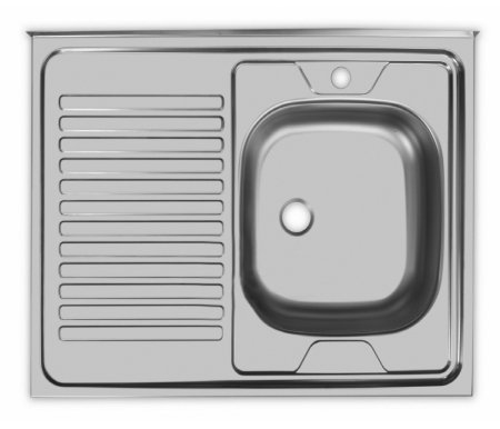Мойка накладная STD800.600--5C 0R матовый металлМойки<br>Кухонная накладная мойка из нержавеющей стали с большой чашей расположенной справа, с площадкой под смеситель и просторным крылом. <br>Подходит для тумб 80 см. Чаша снаружи покрыта шумопоглащающей пленкой. Выпускается без перелива для воды.<br> <br>Размер чаши (Ш х Г): 39 см х 36 см.<br> <br> <br>  Глубина чаши: 15 см.<br> <br>  Размер выпуска: малый (1 ?'')<br> <br>  Толщина металла: 0,5 мм.<br> <br>  Арматура: СКМ<br> <br>  Особенности: угол не заварен.<br>