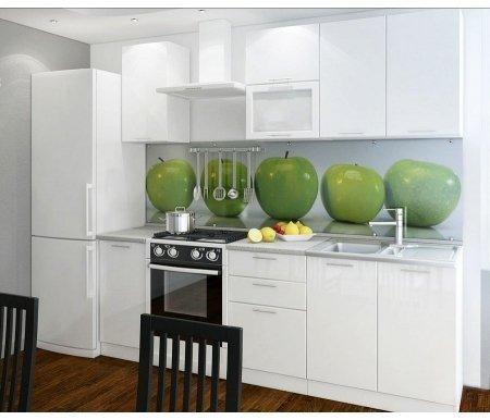 Готовая кухня Валерия-М комплектация 2 каркас белый, фасад белый глянец Bravomebel