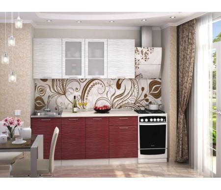 Готовая кухня Валерия-М комплектация 5 каркас белый, фасад белый глянец страйп / красный глянец страйп Bravomebel