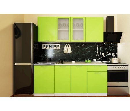Готовая кухня Валерия-М комплектация 5 каркас белый, фасад лайм глянецПрямые кухни<br>Фасады: 16 мм.<br>   <br>     <br>        <br>       <br>   <br>    1, 3. Шкаф верхний (каркас В 500 + фасад Ф-30).<br>   <br>     <br>      Габаритные размеры (Ш x Г x В): 50 см х 32 см х 72 см.<br>     <br>      В комплект входит 1 полка.<br>     <br>      Направление открытия двери: универсальное.<br>     <br>       <br>        <br>       <br>     <br>      2. Шкаф верхний со стеклянными дверями (каркас В 800 + фасад Ф-55).<br>     <br>      Габаритные размеры (Ш x Г x В): 80 см x 32 см x 72 см.<br>     <br>       В комплект входит 1 полка. <br>     <br>       <br>        <br>       <br>     <br>      4.Нижний шкаф под накладную мойку (Каркас НМ 500 + фасад Ф-30).<br>     <br>      Габаритные размеры (Ш x Г x В): 50 см х 48 см х 85 см.<br>     <br>       <br>        <br>       <br>     <br>      5. Нижний шкаф с двумя дверями (каркас Н 800 + фасад Ф-50).<br>     <br>      Габаритные размеры (Ш x Г x В): 80 см х 48 см х 85 см.<br>     <br>      В комплект входит 1 полка.<br>     <br>       <br>        <br>       <br>     <br>      6. Нижний шкаф с одним ящиком (каркас Н 501 + фасад Ф-31).<br>     <br>      Габаритные размеры (Ш x Г x В): 50 см х 48 см х 85 см.<br>     <br>       <br>        <br>       <br>     <br>       <br>         <br>           <br>             <br>               <br>                Габаритная высота указана с учетом рекомендуемого расстояния(60 см)между верхними и нижними ящиками. Ширина гарнитура указана без учета расстояния для установки плиты (60 см) справа и расстояния для установки вытяжки (60 см). <br>                   <br>                    <br>                   <br>                 <br>                  К гарнитуру предполагается единая столешница СТ-1400.<br>                 <br>               <br>                 <br>                  <br>                 <br>               <br>                 <br>                   <br>                    Прио