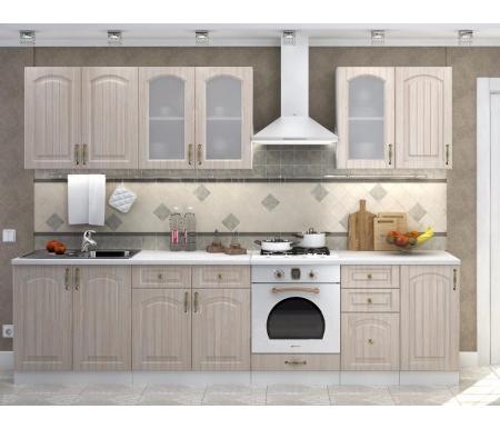 Готовая кухня Верона комплектация 1 каркас белый, фасад ясень шимо светлыйПрямые кухни<br>Фасады: 16 мм.<br>   <br>     <br>        <br>       <br>   <br>     <br>      1. Шкаф верхний с двумя дверями (каркас В 800 + фасад Ф-50).<br>     <br>      Габаритные размеры (Ш х Г х В): 80 см х 32 см х 72 см.<br>     <br>      В комплект входит 1 полка.<br>     <br>       <br>        <br>       <br>     <br>       <br>        2. Шкаф верхний с двумя стеклянными дверями (каркас В 800 + фасад Ф-55).<br>       <br>        Габаритные размеры (Ш х Г х В): 80 см х 32 см х 72 см.<br>       <br>        В комплект входит 1 полка.<br>       <br>     <br>       <br>          <br>         <br>     <br>      3. Шкаф верхний со стеклянной дверью (каркас В 400 + Ф-25).<br>     <br>      Габаритные размеры (Ш х Г х В): 40 см х 32 см х 72 см.<br>     <br>      В комплект входит 1 полка.<br>     <br>       <br>          <br>         <br>     <br>      4.Шкаф верхний (каркас В 400 + Ф-20).<br>     <br>      Габаритные размеры (Ш х Г х В): 40 см х 32 см х 72 см.<br>     <br>      В комплект входит 1 полка.<br>     <br>       <br>          <br>         <br>     <br>      5. Шкаф нижний для мойки (каркас НМ 800 + Ф-50).<br>     <br>      Габаритные размеры (Ш х Г х В): 80 см х 48 см х 85 см.<br>     <br>       <br>        <br>       <br>     <br>      6. Шкаф нижний с двумя ящиками и двумя дверями (каркас Н 801 + фасад Ф-51).<br>     <br>      Габаритные размеры (Ш х Г х В): 80 см х 48 см х 85 см.<br>     <br>      В комплект входит 1 полка.<br>     <br>       <br>        <br>       <br>     <br>      7. Шкаф нижний для духовки (каркас НД 600 + фасад Ф-81).<br>     <br>      Габаритные размеры (Ш х Г х В): 60 см х 48 см х 85 см.<br>     <br>       <br>          <br>         <br>     <br>      8. Шкаф нижний с тремя ящиками (каркас Н 403 + фасад Ф-23).<br>     <br>      Габаритные размеры (Ш х Г х В): 40 см х 48 см х 85 см.<br>     <br>       <br>        <br>       <br>     <br>      9. Шкаф нижн