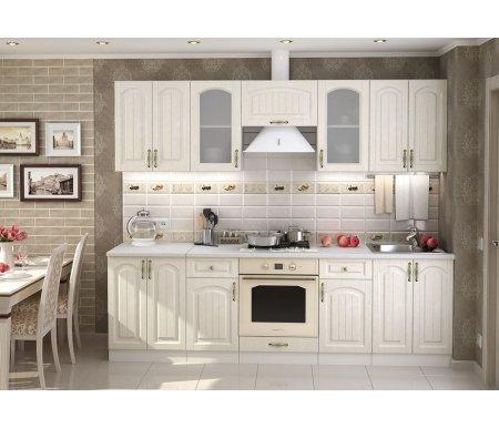 Готовая кухня Верона комплектация 3 каркас белый, фасад ясень золото Bravomebel