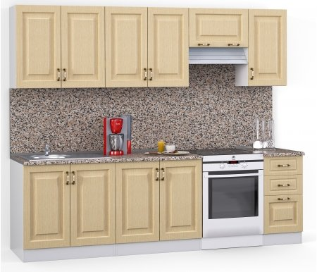 Кухонный гарнитур Лиана декор 260 см белый / лен белый (78293) / гранитПрямые кухни<br>Покрытие столешницы: пластик.<br> <br>Высота верхних шкафов: 72 см.<br> <br>Глубина верхних шкафов:30 см.<br> <br>Высота нижних шкафов:85 см.<br> <br>Глубина нижних шкафов:60 см.<br> <br>Высота цоколя:10 см.<br> <br> <br>    <br>   <br> <br>Комплектация:<br> <br> <br>  <br> <br> <br> <br>  1. Шкаф напольный под мойку со столешницей (без полок, без задней стенки)<br> <br>  Габаритные размеры (В x Ш x Г): 85 см х 80 см х 60 см.<br> <br>   <br>    <br>   <br> <br>  2. Шкаф напольный со столешницей<br> <br>  Габаритные размеры (В x Ш x Г): 85 см х 80 см х 60 см.<br> <br>   <br>      <br>     <br> <br>  3. Шкаф напольный со столешицей<br> <br>  Габаритные размеры (В x Ш x Г): 85 см х 40 см х 60 см.<br> <br>   <br>    <br>   <br> <br>  4. Шкаф навесной под сушку (без полок)<br> <br>  Габаритные размеры (В x Ш x Г): 72 см х 80 см х 30 см.<br> <br>   <br>    <br>   <br> <br>  5. Шкаф навесной<br> <br>  Габаритные размеры (В x Ш x Г): 72 см х 80 см х 30 см.<br> <br>   <br>    <br>   <br> <br>  6. Шкаф навесной под вытяжку<br> <br>  Габаритные размеры (В x Ш x Г): 36 см х 60 см х 30 см.<br> <br>   <br>    <br>   <br> <br>  7. Шкаф навесной<br> <br>  Габаритные размеры (В x Ш x Г): 72 см х 40 см х 30 см.<br> <br> <br> <br>  <br> <br> <br>Габаритная высота указана с учетом рекомендуемого (60 см) расстояния между верхними и нижними ящиками.<br> <br> <br>    <br>   <br> <br> <br>  Приобретается отдельно:<br> <br>   <br>        <br>       <br> <br>  Аксессуары для столешницы:<br> <br>  1. Заглушки для плинтуса.<br> <br>  2. Плинтус длиной 3 метра.<br> <br>  Плинтус необходимо обрезать до длины 260 см.<br> <br>   <br>        <br>       <br> <br>  Стеновая панель:<br> <br>  1. Стеновая панель гранит толщиной 4 мм шириной 3 метра.<br> <br>  Стеновую панель необходимо обрезать до длины 260 см.<br> <br>  2. Торцевая планка для стеновой панели (2 шт.).<br> <br>   <br>    <br>   <br> <br>  Мойка:<br> <