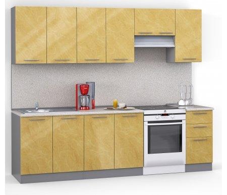 Кухонный гарнитур Лиана хай-тек 260 см титан / бежевый глянец (001) / сахараПрямые кухни<br>Покрытие столешницы: пластик.<br> <br>  Высота верхних шкафов: 72 см.<br> <br>  Глубина верхних шкафов:30 см.<br> <br>  Высота нижних шкафов:85 см.<br> <br>  Глубина нижних шкафов:60 см.<br> <br>  Высота цоколя:10 см.<br> <br>   <br>      <br>     <br> <br>  Комплектация:<br> <br>   <br>    <br>   <br> <br>   <br>    1. Шкаф напольный под мойку со столешницей (без полок, без задней стенки)<br>   <br>    Габаритные размеры (В x Ш x Г): 85 см х 80 см х 60 см.<br>   <br>     <br>      <br>     <br>   <br>    2. Шкаф напольный со столешницей<br>   <br>    Габаритные размеры (В x Ш x Г): 85 см х 80 см х 60 см.<br>   <br>     <br>        <br>       <br>   <br>    3. Шкаф напольный со столешицей<br>   <br>    Габаритные размеры (В x Ш x Г): 85 см х 40 см х 60 см.<br>   <br>     <br>      <br>     <br>   <br>    4. Шкаф навесной под сушку (без полок)<br>   <br>    Габаритные размеры (В x Ш x Г): 72 см х 80 см х 30 см.<br>   <br>     <br>      <br>     <br>   <br>    5. Шкаф навесной<br>   <br>    Габаритные размеры (В x Ш x Г): 72 см х 80 см х 30 см.<br>   <br>     <br>      <br>     <br>   <br>    6. Шкаф навесной под вытяжку<br>   <br>    Габаритные размеры (В x Ш x Г): 36 см х 60 см х 30 см.<br>   <br>     <br>      <br>     <br>   <br>    7. Шкаф навесной<br>   <br>    Габаритные размеры (В x Ш x Г): 72 см х 40 см х 30 см.<br>   <br> <br>   <br>    <br>   <br> <br>  Габаритная высота указана с учетом рекомендуемого (60 см) расстояния между верхними и нижними ящиками.<br><br>  <br>      <br>    <br><br>  <br>    Приобретается отдельно:<br>  <br>    <br>          <br>        <br>  <br>    Аксессуары для столешницы:<br>  <br>    1. Заглушки для плинтуса.<br>  <br>    2. Плинтус длиной 3 метра.<br>  <br>    Плинтус необходимо обрезать до длины 260 см.<br>  <br>    <br>          <br>        <br>  <br>    Стеновая панель:<br>  <br>    1. Стеновая панель сахара толщиной 4 мм шириной 3 м