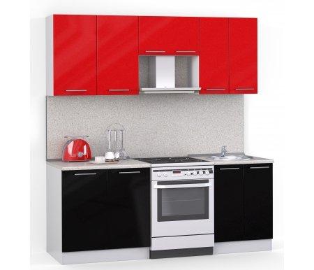 Кухонный гарнитур Лиана лайн 200 см белый / черный металлик (9511), красный металлик (9501) / сахара Мегаэлатон