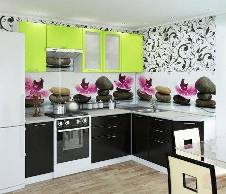 Готовая кухня Валерия-М комплектация 1 каркас белый, фасад лайм глянец / венгеУгловые кухни<br>Фасады: 16 мм.<br>   <br>     Высота правой части кухни: 85 см. <br>   <br>     <br>        <br>       <br>   <br>    1. Шкаф верхний (каркас В 400 + фасад Ф-20).<br>   <br>     <br>      Габаритные размеры (Ш x Г x В): 40 см х 32 см х 72 см.<br>     <br>      В комплект входит 1 полка.<br>     <br>      Направление открытия двери: универсальное.<br>     <br>       <br>        <br>       <br>     <br>      2. Шкаф верхний горизонтальный (каркас ВГ 600 + фасад Ф-85).<br>     <br>      Габаритные размеры (Ш x Г x В): 60 см x 32 см x 32 см.<br>     <br>      Направление открытия двери: вверх.<br>     <br>       <br>        <br>       <br>     <br>      3. Шкаф верхний с двумя стеклянными дверями (каркас В 800 + фасад Ф-55).<br>     <br>      Габаритные размеры (Ш x Г x В): 80 см x 32 см x 72 см.<br>     <br>      В комплект входит 1 полка.<br>     <br>       <br>        <br>       <br>     <br>      4.Шкаф верхний(каркас В 600 + фасад Ф-46).<br>     <br>      Габаритные размеры (Ш x Г x В): 60 см x 32 см x 72 см.<br>     <br>       В комплект входит 1 полка. <br>     <br>       <br>        <br>       <br>     <br>      5. Нижний шкаф (Каркас Н 400 + фасад Ф-20).<br>     <br>      Габаритные размеры (Ш x Г x В): 40 см х 48 см х 85 см.<br>     <br>       В комплект входит 1 полка. <br>     <br>       <br>        <br>       <br>     <br>      6. Нижний шкаф с тремя ящиками (каркас Н 803 + фасад Ф-53).<br>     <br>      Габаритные размеры (Ш x Г x В): 80 см х 48 см х 85 см.<br>     <br>       <br>        <br>       <br>     <br>      7. Нижний угловой шкаф (каркас НУ 990 + фасад Ф-20).<br>     <br>      Габаритные размеры (Ш x Г x В): 99 см х 48 см х 85 см.<br>     <br>       Шкаф предполагает приобретение столешницы и врезной раковины. <br>     <br>       <br>        <br>       <br>     <br>      8. Нижний шкаф с тремя ящиками (каркас Н 403 + фасад Ф-23).<br>     <br>      Габар