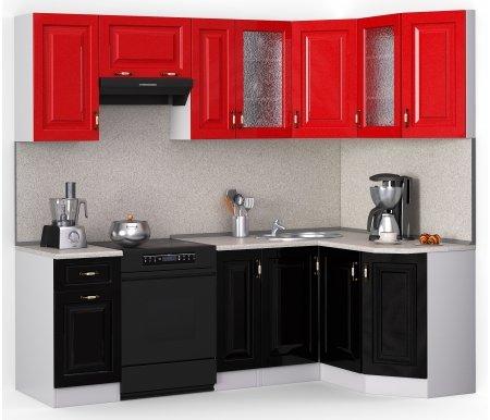 Кухонный гарнитур Лиана декор 230 х 124,3 см белый / черный (9511),красный металлик (9501) / сахараУгловые кухни<br>Покрытие столешницы: пластик.<br> <br>Высота верхних шкафов: 72 см.<br> <br>Глубина верхних шкафов: 30 см.<br> <br>Высота нижних шкафов: 85 см.<br> <br>Глубина нижних шкафов: 60 см.<br> <br>Высота цоколя: 10 см.<br> <br>Толщина корпуса: 1,6 см.<br> <br> <br>  <br> <br> <br>Комплектация:<br> <br> <br>  <br> <br> <br>1. Шкаф напольный со столешницей<br> <br>Габаритные размеры (В x Ш x Г): 85 см х 40 см х 60 см.<br> <br> <br>  <br> <br> <br>2. Шкаф напольный со столешницей<br> <br>Габаритные размеры (В x Ш x Г): 85 см х 30 см х 60 см.<br> <br><br>  <br><br> <br>3. Шкаф угловой напольный под мойку со столешницей<br> <br>Габаритные размеры (В x Ш / Ш x Г): 85 см х100 см / 100 см х 60 см.<br> <br> <br>  <br> <br> <br>4. Шкаф скошкнный напольный со столешницей<br> <br>Габаритные размеры (В x Ш x Г): 85 см х 24,3 см х 60 см.<br> <br> <br>  <br> <br> <br>5. Шкаф навесной<br> <br>Габаритные размеры (В x Ш x Г): 72 см х 40 см х 30 см.<br> <br> <br>  <br> <br> <br>6. Шкаф навесной под вытяжку<br> <br>Габаритные размеры (В x Ш x Г): 36 см х 60 см х 30 см.<br> <br> <br>  <br> <br> <br>7. Шкаф навесной<br> <br>Габаритные размеры (В x Ш x Г): 72 см х 30 см х 30 см.<br> <br> <br>  <br> <br> <br>8, 10. Шкаф навесной со стеклом<br> <br>Габаритные размеры (В x Ш x Г): 72 см х 40 см х 30 см.<br> <br> <br>  <br> <br> <br>9. Шкаф угловой навесной под сушку (без полок)<br> <br>Габаритные размеры (В x Ш / Ш x Г): 72 см х 60 см / 60 см х 30 см.<br> <br> <br>  <br> <br> <br>11. Шкаф скошенный навесной<br> <br>Габаритные размеры (В x Ш x Г): 72 см х 43 см х 30 см.<br> <br> <br>  <br> <br> <br> <br>  Габаритная высота указана с учетом рекомендуемого (60 см) расстояния между верхними и нижними ящиками.<br> <br>   <br>    <br>   <br> <br>  Приобретается отдельно:<br> <br>   <br>    <br>   <br> <br>  Аксессуары для столешницы:<br> <br>  1. Заглушки для плинтуса.<br> <br>  2. Плинтус 
