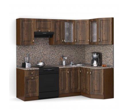 Кухонный гарнитур Лиана декор 230 х 124,3 см орех / орех светлый (232) / гранитУгловые кухни<br>Покрытие столешницы: пластик.<br> <br>Высота верхних шкафов: 72 см.<br> <br>Глубина верхних шкафов: 30 см.<br> <br>Высота нижних шкафов: 85 см.<br> <br>Глубина нижних шкафов: 60 см.<br> <br>Высота цоколя: 10 см.<br> <br>Толщина корпуса: 1,6 см.<br> <br> <br>  <br> <br> <br>Комплектация:<br> <br> <br>  <br> <br> <br>1. Шкаф напольный со столешницей<br> <br>Габаритные размеры (В x Ш x Г): 85 см х 40 см х 60 см.<br> <br> <br>  <br> <br> <br>2. Шкаф напольный со столешницей<br> <br>Габаритные размеры (В x Ш x Г): 85 см х 30 см х 60 см.<br> <br><br>  <br><br> <br>3. Шкаф угловой напольный под мойку со столешницей<br> <br>Габаритные размеры (В x Ш / Ш x Г): 85 см х100 см / 100 см х 60 см.<br> <br> <br>  <br> <br> <br>4. Шкаф скошкнный напольный со столешницей<br> <br>Габаритные размеры (В x Ш x Г): 85 см х 24,3 см х 60 см.<br> <br> <br>  <br> <br> <br>5. Шкаф навесной<br> <br>Габаритные размеры (В x Ш x Г): 72 см х 40 см х 30 см.<br> <br> <br>  <br> <br> <br>6. Шкаф навесной под вытяжку<br> <br>Габаритные размеры (В x Ш x Г): 36 см х 60 см х 30 см.<br> <br> <br>  <br> <br> <br>7. Шкаф навесной<br> <br>Габаритные размеры (В x Ш x Г): 72 см х 30 см х 30 см.<br> <br> <br>  <br> <br> <br>8, 10. Шкаф навесной со стеклом<br> <br>Габаритные размеры (В x Ш x Г): 72 см х 40 см х 30 см.<br> <br> <br>  <br> <br> <br>9. Шкаф угловой навесной под сушку (без полок)<br> <br>Габаритные размеры (В x Ш / Ш x Г): 72 см х 60 см / 60 см х 30 см.<br> <br> <br>  <br> <br> <br>11. Шкаф скошенный навесной<br> <br>Габаритные размеры (В x Ш x Г): 72 см х 43 см х 30 см.<br> <br> <br>  <br> <br> <br> <br>  <br> <br> <br> <br>  Габаритная высота указана с учетом рекомендуемого (60 см) расстояния между верхними и нижними ящиками.<br> <br>   <br>    <br>   <br> <br>  Приобретается отдельно:<br> <br>   <br>    <br>   <br> <br>  Аксессуары для столешницы:<br> <br>  1. Заглушки для плинтуса.<br> <br>  2. Плинтус