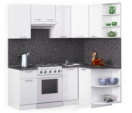Кухонный гарнитур Лиана лайн 200 x 130 см белый / белый глянец (3020) / антрацитУгловые кухни<br>Покрытие столешницы: пластик.<br> <br>Высота верхних шкафов: 72 см.<br> <br>Глубина верхних шкафов: 30 см.<br> <br>Высота нижних шкафов: 85 см.<br> <br>Глубина нижних шкафов: 60 см.<br> <br>Высота цоколя: 10 см.<br> <br>Толщина корпуса: 1,6 см.<br> <br>Размеры упаковки: 220 см х 355 см х 20 см.<br> <br>Количество упаковок: 9.<br> <br> <br>  <br> <br> <br>Комплектация:<br> <br> <br>  <br> <br> <br>1. Шкаф напольный со столешницей<br> <br>Габаритные размеры (В x Ш x Г): 85 см х 40 см х 60 см.<br> <br> <br>    <br>   <br> <br>2. Шкаф угловой напольный под мойку со столешницей<br> <br>Габаритные размеры (В x Ш / Ш x Г): 85 см х100 см / 100 см х 60 см.<br> <br> <br>    <br>   <br> <br>3. Шкаф подвесной радиусный со столешницей<br> <br>Габаритные размеры (В x Ш x Г): 72 см х 30 см х 60 см.<br> <br> <br>  <br> <br> <br>4, 6, 8. Шкаф навесной<br> <br>Габаритные размеры (В x Ш x Г): 72 см х 40 см х 30 см.<br> <br> <br>  <br> <br> <br>5. Шкаф навесной под вытяжку<br> <br>Габаритные размеры (В x Ш x Г): 36 см х 60 см х 30 см.<br> <br> <br>  <br> <br> <br>7. Шкаф угловой навесной под сушку (без полок)<br> <br>Габаритные размеры (В x Ш / Ш x Г): 72 см х 60 см / 60 см х 30 см.<br> <br> <br>  <br> <br> <br>9. Шкаф навесной радиусный<br> <br>Габаритные размеры (В x Ш x Г): 72 см х 30 см х 30 см.<br><br><br>  <br><br><br><br>  Габаритная высота указана с учетом рекомендуемого (60 см) расстояния между верхними и нижними ящиками.<br><br>  <br>    <br>  <br><br>  Приобретается отдельно:<br><br>  <br>      <br>    <br><br>  Аксессуары для столешницы:<br><br>  1. Заглушки для плинтуса.<br><br>  2. Плинтус длиной 2 метра (2 шт.).<br><br>  Правую часть плинтуса необходимо обрезать до длины 130 см.<br><br>  <br>        <br>      <br><br>  Стеновая панель:<br><br>  1. Стеновая панель антрацит толщиной 4 мм шириной 2 метра (2 шт.).<br><br>  Правую часть стеновой панели необходимо обрезать до длины