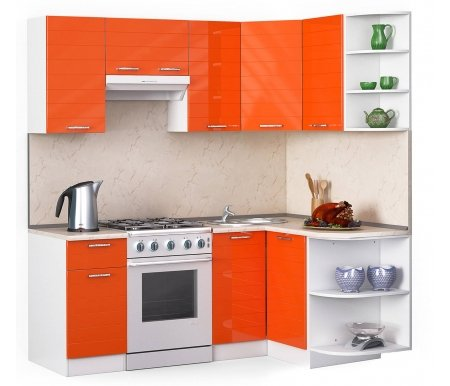 Кухонный гарнитур Лиана лайн 200 x 130 см орех / белый / оранжевый глянец (3177) / желтый мрамор Мегаэлатон
