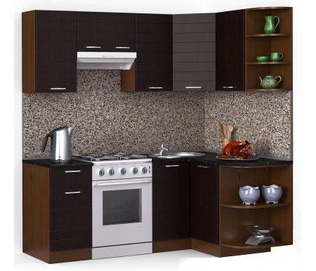 Кухонный гарнитур Лиана лайн 200 x 130 см орех / венге темный (5015) / черный гранитУгловые кухни<br>Покрытие столешницы: пластик.<br> <br>Высота верхних шкафов: 72 см.<br> <br>Глубина верхних шкафов: 30 см.<br> <br>Высота нижних шкафов: 85 см.<br> <br>Глубина нижних шкафов: 60 см.<br> <br>Высота цоколя: 10 см.<br> <br>Толщина корпуса: 1,6 см.<br> <br>Размеры упаковки: 220 см х 355 см х 20 см.<br> <br>Количество упаковок: 9.<br> <br> <br>  <br> <br> <br>Комплектация:<br> <br> <br>  <br> <br> <br>1. Шкаф напольный со столешницей<br> <br>Габаритные размеры (В x Ш x Г): 85 см х 40 см х 60 см.<br> <br> <br>    <br>   <br> <br>2. Шкаф угловой напольный под мойку со столешницей<br> <br>Габаритные размеры (В x Ш / Ш x Г): 85 см х100 см / 100 см х 60 см.<br> <br> <br>    <br>   <br> <br>3. Шкаф подвесной радиусный со столешницей<br> <br>Габаритные размеры (В x Ш x Г): 72 см х 30 см х 60 см.<br> <br> <br>  <br> <br> <br>4, 6, 8. Шкаф навесной<br> <br>Габаритные размеры (В x Ш x Г): 72 см х 40 см х 30 см.<br> <br> <br>  <br> <br> <br>5. Шкаф навесной под вытяжку<br> <br>Габаритные размеры (В x Ш x Г): 36 см х 60 см х 30 см.<br> <br> <br>  <br> <br> <br>7. Шкаф угловой навесной под сушку (без полок)<br> <br>Габаритные размеры (В x Ш / Ш x Г): 72 см х 60 см / 60 см х 30 см.<br> <br> <br>  <br> <br> <br>9. Шкаф навесной радиусный<br> <br>Габаритные размеры (В x Ш x Г): 72 см х 30 см х 30 см.<br><br><br>  <br><br><br><br>  Габаритная высота указана с учетом рекомендуемого (60 см) расстояния между верхними и нижними ящиками.<br><br>  <br>    <br>  <br><br>  Приобретается отдельно:<br><br>  <br>      <br>    <br><br>  Аксессуары для столешницы:<br><br>  1. Заглушки для плинтуса.<br><br>  2. Плинтус длиной 2 метра (2 шт.).<br><br>  Правую часть плинтуса необходимо обрезать до длины 130 см.<br><br>  <br>        <br>      <br><br>  Стеновая панель:<br><br>  1. Стеновая панель гранит толщиной 4 мм шириной 2 метра (2 шт.).<br><br>  Правую часть стеновой панели необходимо обрезать до дли