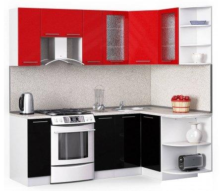 Кухонный гарнитур Лиана лайн 220 x 130 см белый / черный (9511),красный металлик (9501) / сахараУгловые кухни<br>Покрытие столешницы: пластик.<br> <br>Высота верхних шкафов: 72 см.<br> <br>Глубина верхних шкафов: 30 см.<br> <br>Высота нижних шкафов: 85 см.<br> <br>Глубина нижних шкафов: 60 см.<br> <br>Высота цоколя: 10 см.<br> <br>Толщина корпуса: 1,6 см.<br> <br>Размеры упаковки: 220 см х 355 см х 20 см.<br> <br>Количество упаковок: 9.<br> <br> <br>  <br> <br> <br>Комплектация:<br> <br> <br>  <br> <br> <br>1. Шкаф напольный со столешницей<br> <br>Габаритные размеры (В x Ш x Г): 85 см х 40 см х 60 см.<br> <br> <br>    <br>   <br> <br>2. Шкаф угловой напольный под мойку со столешницей<br> <br>Габаритные размеры (В x Ш / Ш x Г): 85 см х100 см / 100 см х 60 см.<br> <br> <br>    <br>   <br> <br>3. Шкаф подвесной радиусный со столешницей<br> <br>Габаритные размеры (В x Ш x Г): 72 см х 30 см х 60 см.<br> <br> <br>  <br> <br> <br>4, 6, 8. Шкаф навесной<br> <br>Габаритные размеры (В x Ш x Г): 72 см х 40 см х 30 см.<br> <br> <br>  <br> <br> <br>5. Шкаф навесной под вытяжку<br> <br>Габаритные размеры (В x Ш x Г): 36 см х 60 см х 30 см.<br> <br> <br>  <br> <br> <br>7. Шкаф угловой навесной под сушку (без полок)<br> <br>Габаритные размеры (В x Ш / Ш x Г): 72 см х 60 см / 60 см х 30 см.<br> <br> <br>  <br> <br> <br>9. Шкаф навесной радиусный<br> <br>Габаритные размеры (В x Ш x Г): 72 см х 30 см х 30 см.<br><br><br>  <br><br><br><br>  Габаритная высота указана с учетом рекомендуемого (60 см) расстояния между верхними и нижними ящиками.<br><br>  <br>    <br>  <br><br>  Приобретается отдельно:<br><br>  <br>    <br>  <br><br>  Аксессуары для столешницы:<br><br>  1. Заглушки для плинтуса.<br><br>  2. Плинтус длиной 2 метра.<br><br>  Плинтус длиной 2 метра необходимо обрезать до длины 130 см.<br><br>  3. Плинтус длиной 3 метра.<br><br>  Плинтус длиной 2 метра необходимо обрезать до длины 220 см.<br><br>  <br>    <br>  <br><br>  Стеновая панель:<br><br>  1. Стеновая панель сахара толщи