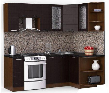 Кухонный гарнитур Лиана лайн 220 x 130 см орех / венге темный (5015) / черный гранитУгловые кухни<br>Покрытие столешницы: пластик.<br> <br>Высота верхних шкафов: 72 см.<br> <br>Глубина верхних шкафов:30 см.<br> <br>Высота нижних шкафов:85 см.<br> <br>Глубина нижних шкафов:60 см.<br> <br>Высота цоколя:10 см.<br> <br>Толщина корпуса: 1,6 см.<br> <br> Размеры упаковки: 220 см х 355 см х 20 см, 220 см х 355 см х 20 см. <br> <br> <br>  <br> <br> <br> <br>  Комплектация:<br> <br>   <br>    <br>   <br> <br>   <br>    1, 2. Шкаф напольный со столешницей<br>   <br>    Габаритные размеры (В x Ш x Г): 85 см х 30 см х 60 см.<br>   <br>     <br>      <br>     <br>   <br>    3. Шкаф угловой напольный под мойку со столешницей<br>   <br>    Габаритные размеры (В x Ш / Ш x Г): 85 см х 100 см / 100 см х 60 см.<br>   <br>     <br>        <br>       <br>   <br>    4. Шкаф подвесной радиусный со столешницей<br>   <br>    Габаритные размеры (В x Ш x Г): 72 см х 30 см х 60 см.<br>   <br>     <br>      <br>     <br>   <br>    5, 7. Шкаф навесной<br>   <br>    Габаритные размеры (В x Ш x Г): 72 см х 30 см х 30 см.<br>   <br>     <br>      <br>     <br>   <br>    6. Шкаф навесной под вытяжку<br>   <br>    Габаритные размеры (В x Ш x Г): 36 см х 60 см х 30 см.<br>   <br>     <br>      <br>     <br>   <br>    8, 10. Шкаф навесной со стеклом<br>   <br>    Габаритные размеры (В x Ш x Г): 72 см х 40 см х 30 см.<br>   <br>     <br>      <br>     <br>   <br>    9. Шкаф угловой навесной под сушку (без полок)<br>   <br>    Габаритные размеры (В x Ш / Ш x Г): 72 см х 60 см / 60 см х 30 см.<br>   <br>     <br>      <br>     <br>   <br>    11. Шкаф навесной радиусный<br>   <br>    Габаритные размеры (В x Ш x Г): 72 см х 30 см х 30 см.<br>  <br>    <br>      <br>    <br>  <br>    <br>      Габаритная высота указана с учетом рекомендуемого (60 см) расстояния между верхними и нижними ящиками.<br>    <br>      <br>        <br>      <br>    <br>      Приобретается отдельно:<br>    <br>      <br>        <br> 