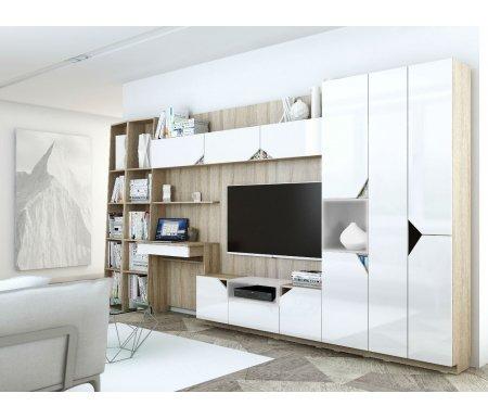 Гостиная Аванти 01Гостиные и стенки<br>Модульная гостиная Аванти 01 включает в себя: тв-тумбу, два стеллажа, шкаф-пенал, платяной шкаф и стол для компьютера. <br>Размеры (Ш x Г x В): 400 x 35 x 208 см.<br> <br>Материалы:ламинированная ДСП производства Русский Ламинат (Россия) имеет гигиенический сертификат Е1 и относится к экологичной группе ДСП.<br> <br> <br>  Цвет каркаса: дуб сонома.<br> <br>  Цвет фасада: белый.<br>