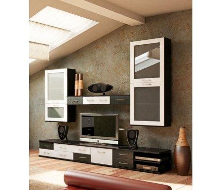 Гостиная НорманГостиные и стенки<br>Норман - современная гостиная в стиле модерн. Фасады в монохромных оттенках смотрятся ярко и эффектно благодаря принтам белая- и чёрная шелкография. Обратите внимания на такие элементы серии, как <br>- журнальный столик с полками и выдвижным ящиком под столешницей НорманCB-45<br> <br>- малую витрину с асимметричными отделениями (см. фото)<br> <br>- полку с ящиками (см. фото) <br> <br>- вместительный шкаф НорманCB-46<br><br>Тумба: 130 см х 47,8 см х 36,2 см<br>Тумба под телевизор: 130 см х 47,8 см х 36,2 см<br>Полка с ящиками: 140 см х 30,3 см х 17,9 см<br>Витрина большая: 59,9 см х 29,6 см х 145,2 см<br>Витрина малая: 59,9 см х 29,6 см х 109,3 см<br>Материал каркаса: ЛДСП<br>Материал фасада: МДФ