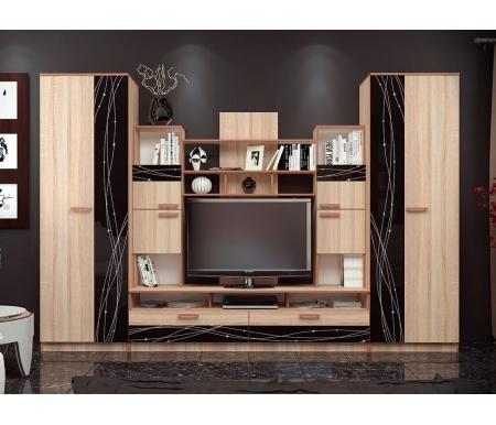 Купить Готовая гостиная БТС-мебель, Багира дуб сонома / стекло кашемир, Россия