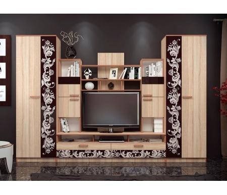 Купить Готовая гостиная БТС-мебель, Багира дуб сонома / стекло каштан, Россия