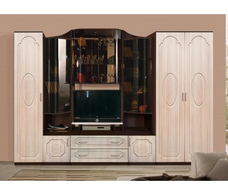 Купить Готовая гостиная Диал, Эдвард-7 вариант №4 340 см венге / дуб паллада, Россия