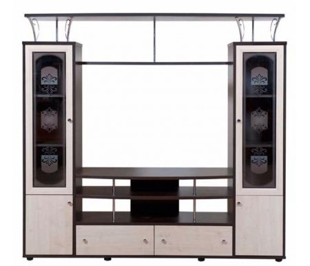 Гостиная Симфония 5.10Мини-стенки<br>Многофункциональная гостинаяСимфония 5.10изготовлена из ламинированного ДСП. Стеклянные дверцы универсальных шкафов декорированы витражным рисунком и оформлены в раму из МДФ.<br> <br>В состав входит: открытая секция, где можно разместить телевизор с диагональю до 50 дюймов, универсальные шкафы с застекленными витринами для посуды, сувениров или книг, два ящика и открытые полки.<br> <br>Эта гостиная наилучшим образом сочетает в себе многофункциональность и стильный внешний вид.<br><br>Ширина: 180 см<br>Глубина: 45 см<br>Высота: 170 см<br>Материал каркасса: ламинированный ДСП<br>Материал фасадов: ламинированный ДСП, закаленное стекло<br>Цвет: дуб Венге / клен Танзай<br>Вес: 30 кг