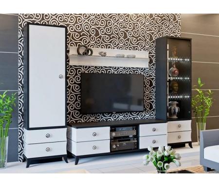 Купить Модульная гостиная Трия, Камилла (комплектация 1) белый глянец / черный, Россия, черный / белый глянец