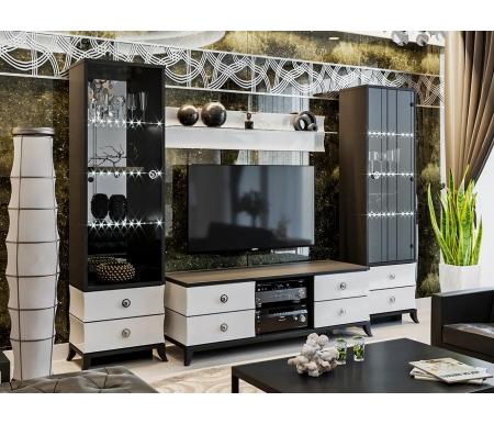 Купить Модульная гостиная Трия, Камилла (комплектация 2) белый глянец / черный, Россия, черный / белый глянец