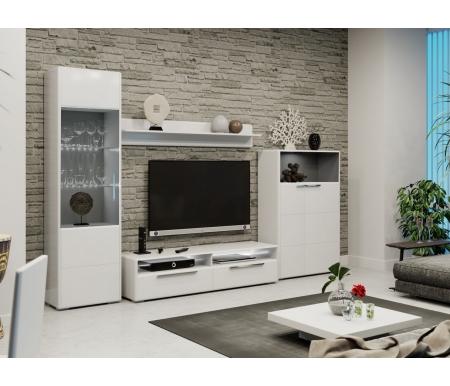 Купить Модульная гостиная Трия, Наоми комплектация 3 белый глянец, Россия