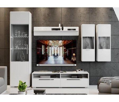 Купить Модульная гостиная Трия, Наоми комплектация 5 белый глянец, Россия