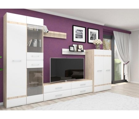 Модульная гостиная Рост, Дуб сонома / белый глянец, Версаль