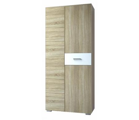 Купить Шкаф двухдверный НК мебель, Гамильтон для одежды дуб сонома / белый глянец, Россия