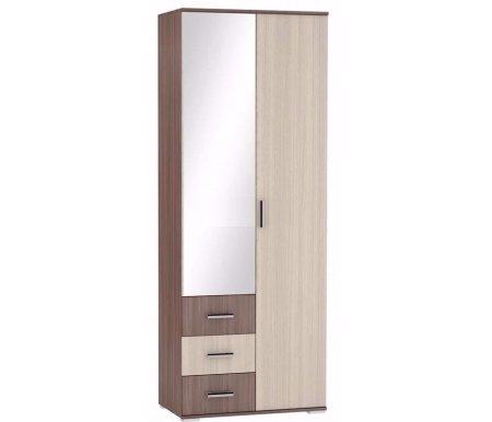 Купить Модульные распашные шкафы Рошель ШК-802 платяной с ящиками ясень шимо темный / светлый  Шкаф двухдверный Bravomebel
