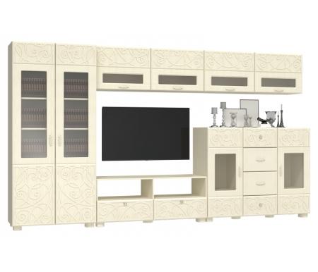 Гостиная Легенда (компоновка 11) береза снежная / венге светлый распилМодульные стенки<br>Материал фасада изготовлен из МДФ плиты с 3-D узором.<br>