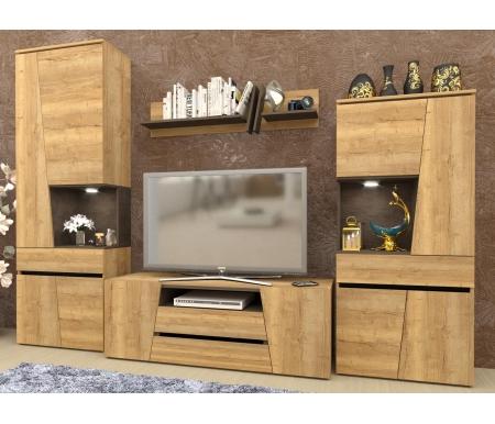 Модульная гостиная СБК-мебель Стреза дуб галифакс натуральный / бетон чикаго темно-серый фото