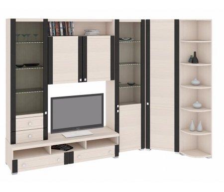 Стенка для гостиной Фиджи (комплектация 11)Модульные стенки<br>Внутренние полки витрин выполнены из стекла.<br> <br>Направление открытия дверей комбинированных шкафов определяется при сборке.<br>