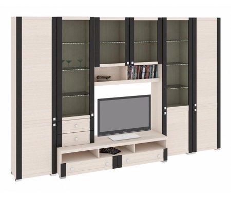 Стенка для гостиной Фиджи (комплектация 14) дуб белфортМодульные стенки<br>Внутренние полки витрин выполнены из стекла.<br> <br>Направление открытия дверей комбинированных шкафов определяется при сборке.<br>