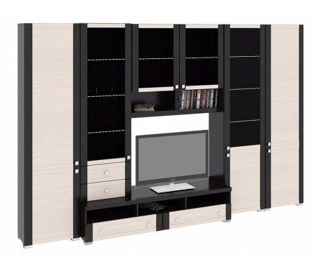 Стенка для гостиной Фиджи (комплектация 14) венге цаво / дуб белфортМодульные стенки<br>Внутренние полки витрин выполнены из стекла.<br> <br>Направление открытия дверей комбинированных шкафов определяется при сборке.<br>