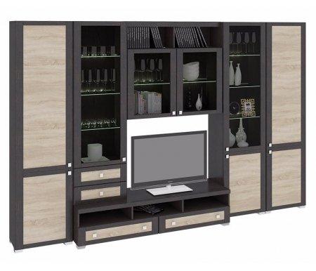 Стенка для гостиной Фиджи (комплектация 14) венге цаво / дуб сономаМодульные стенки<br>Внутренние полки витрин выполнены из стекла.<br> <br>Направление открытия дверей комбинированных шкафов определяется при сборке.<br>