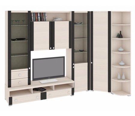 Стенка для гостиной Фиджи (комплектация 17) дуб белфортМодульные стенки<br>Внутренние полки витрин выполнены из стекла.<br> <br>Направление открытия дверей комбинированных шкафов определяется при сборке.<br><br>В данной комплектации используется угловой шкаф с петлями с правой стороны.<br>