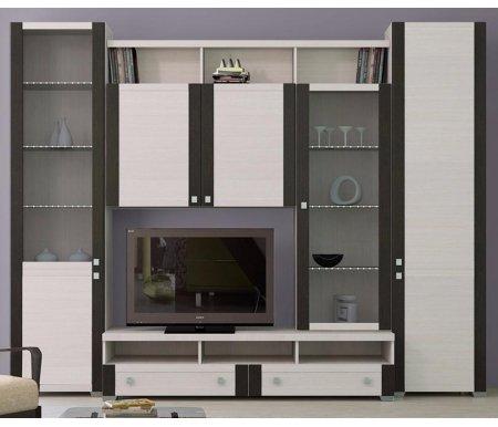 Стенка для гостиной Фиджи (комплектация 18) дуб белфорт / дуб белфортМодульные стенки<br>Внутренние полки витрин выполнены из стекла.<br> <br>Направление открытия дверей комбинированных шкафов определяется при сборке.<br>