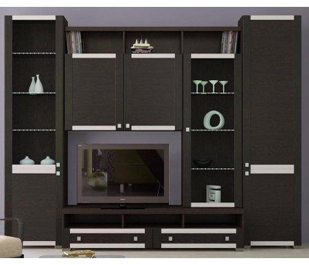 Стенка для гостиной Фиджи (комплектация 18) венге цаво / венге цавоМодульные стенки<br>Внутренние полки витрин выполнены из стекла.<br> <br>Направление открытия дверей комбинированных шкафов определяется при сборке.<br>