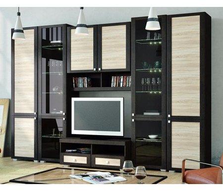 Стенка для гостиной Фиджи (комплектация 1) венге цаво / дуб сономаМодульные стенки<br>Внутренние полки витрин выполнены из стекла.<br> <br>Направление открытия дверей комбинированных шкафов определяется при сборке.<br>