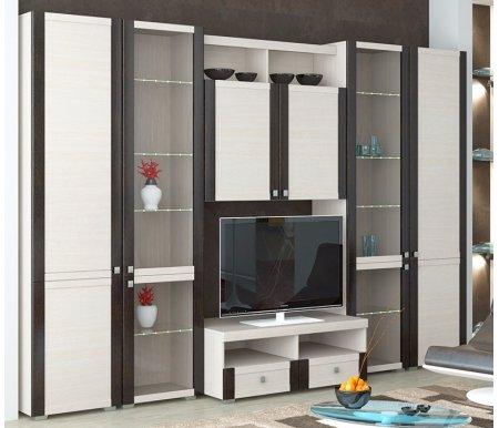 Стенка для гостиной Фиджи (комплектация 24) дуб белфортМодульные стенки<br>Внутренние полки витрин выполнены из стекла.<br> <br>Направление открытия дверей комбинированных шкафов определяется при сборке.<br>