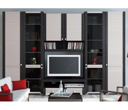Стенка для гостиной Фиджи (комплектация 24) венге цаво / дуб белфортМодульные стенки<br>Внутренние полки витрин выполнены из стекла.<br> <br>Направление открытия дверей комбинированных шкафов определяется при сборке.<br>