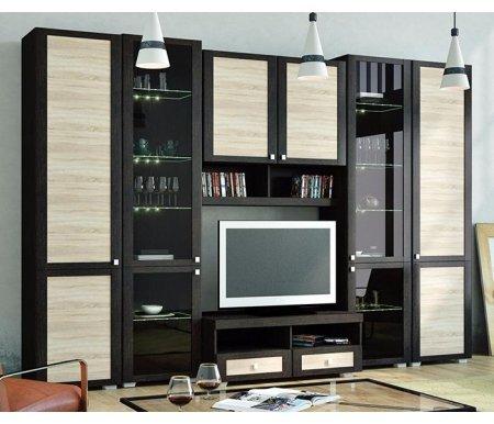 Стенка для гостиной Фиджи (комплектация 24) венге цаво / дуб сономаМодульные стенки<br>Внутренние полки витрин выполнены из стекла.<br> <br>Направление открытия дверей комбинированных шкафов определяется при сборке.<br>