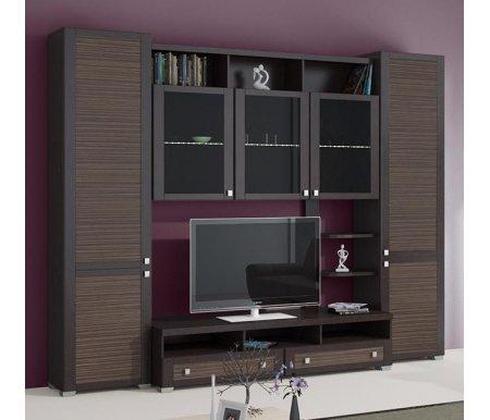 Стенка для гостиной Фиджи (комплектация 25) венге цаво / каналы дубаМодульные стенки<br>Внутренние полки витрин выполнены из стекла.<br> <br>Направление открытия дверей комбинированных шкафов определяется при сборке.<br>
